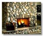 black cultured stone fireplace.